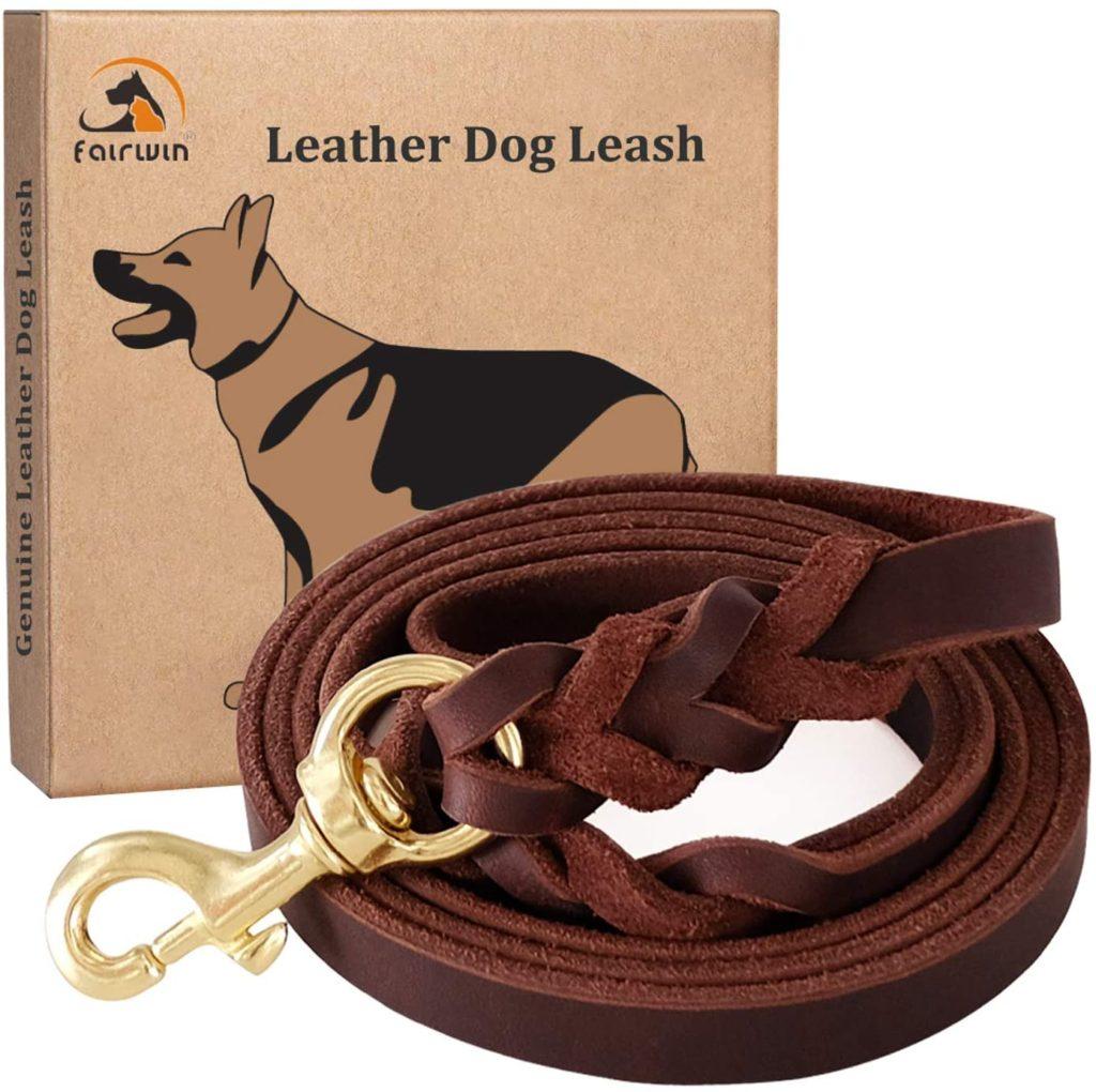 Fairwin Braided Leather Dog Training Leash 6 Foot - 5.6 Foot Military Grade Heavy Duty Dog Leash